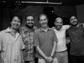 esq-dir: Alexandre Cueva, Adonias Jr, Álvaro Cueva, Kabé Pinheiro e Leonardo Costa em gravação no estúdio Arsis out2014